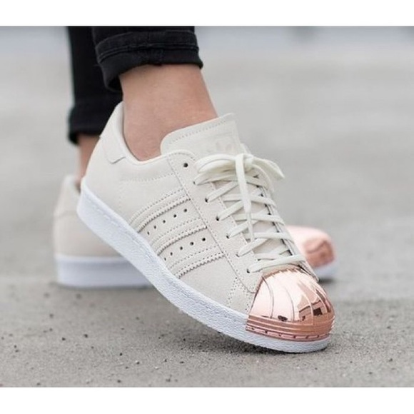 adidas superstar metal toe beige rose gold suede